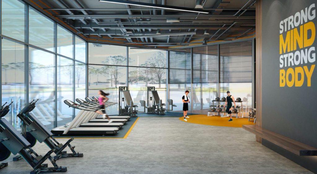 Phòng gym với đầy đủ trang bị hiện đại